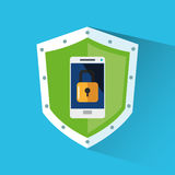 Padlock inside shield and smartphone design Stock Images