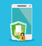 Padlock inside shield and smartphone design Stock Image