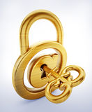 Padlock with internet symbol and key. 3D illustration Stock Image