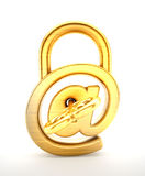 Padlock with internet symbol and key. 3D illustration Royalty Free Stock Images