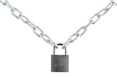 Padlock joined two chains Royalty Free Stock Image