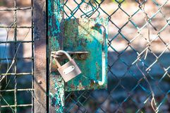 Padlock keeping garden safe royalty free stock images