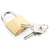 Padlock and key. S isolated on white, clipping path included Stock Photo