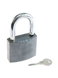 Padlock with a key Stock Image