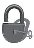 Padlock with key Stock Photo