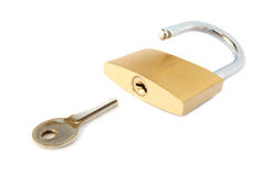 Padlock and key. Isolated on a white background stock image