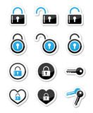 Padlock, key, account  icons set Stock Photo