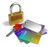 Padlock, key and credit cards Royalty Free Stock Image