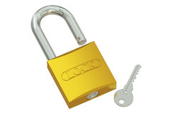Padlock with key, 3D rendering Royalty Free Stock Photo