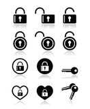 Padlock, key  icons set Stock Image
