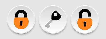 Padlock and key icons Stock Images