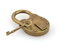 Padlock and key isolated on white Stock Photo