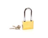 Padlock with key isolated on white background Stock Image
