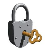 Padlock with a key Royalty Free Stock Photo