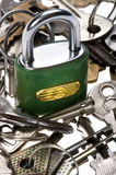 Padlock with key macro Stock Images