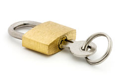 Padlock and key over white Stock Photography