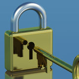 Padlock With Key Showing Security Royalty Free Stock Photography