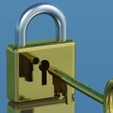 Padlock With Key Showing Security Protection And Safety Stock Photos