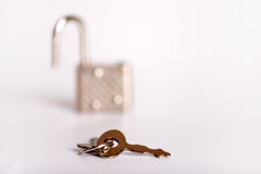 Padlock with a key Stock Photo