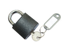 Padlock with key and tag Royalty Free Stock Image