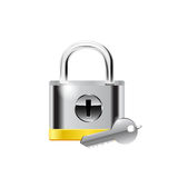 Padlock and key - vector illustration Stock Photography