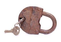 Padlock and key on white Royalty Free Stock Photography
