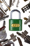 Padlock with key on white background Stock Images
