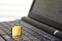 Padlock on keyboard Stock Image