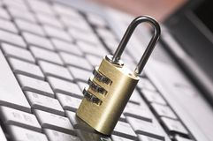 Padlock on Keyboard Royalty Free Stock Photos