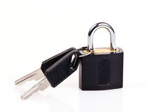 Padlock with keys. Two keys attached to a padlock. Isolated on a white background Stock Image