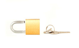 Padlock and keys. Isolated on a white background Royalty Free Stock Image