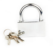 Padlock and keys Stock Photography