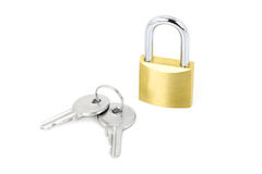 Padlock with keys. Isolated on white background Royalty Free Stock Images