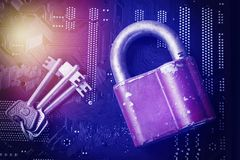 Padlock with keys on computer motherboard. Internet data privacy information security encryption algorithm concept. Blue toned ima Stock Images