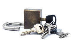 Padlock with keys Stock Images