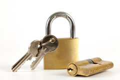 Padlock with keys on a white background Royalty Free Stock Images