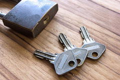 Padlock with keys on wooden Stock Image