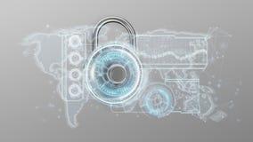Padlock l'interface de technique de protection d'isolement sur un fond 3 illustration libre de droits