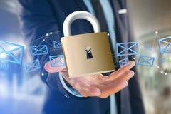 Padlock la connexion de sécurité d'isolement sur un fond de couleur - 3d Image libre de droits