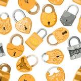 Padlock la serratura di vettore per la protezione di protezione e sicurezza con il meccanismo sicuro bloccato per collegare o la  illustrazione vettoriale
