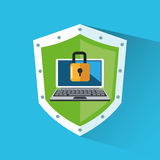 Padlock and laptop inside shield design Stock Photography