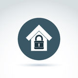 Padlock lock and house classic icon, apartment and home security Royalty Free Stock Image
