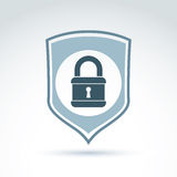 Padlock lock on a shield conceptual safety theme icon, vector. Royalty Free Stock Photography