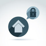 Padlock lock on a shield conceptual safety theme icon, vector. Stock Images