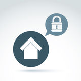 Padlock lock on a shield conceptual safety theme icon, vector. Royalty Free Stock Photo