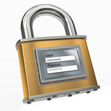 Padlock with login and password. 3d Royalty Free Stock Images