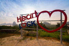 Padlock loop hearth sign on viewpoint at travel destination in m Royalty Free Stock Photo