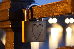 Padlock love. Love marker on padlock Royalty Free Stock Image