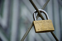 Padlock of love Stock Images