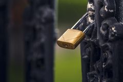 Padlock of love with heart Stock Photo